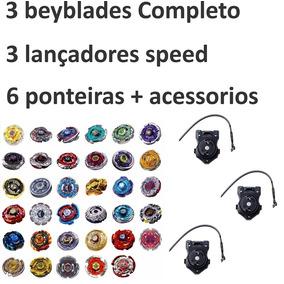 3 Beyblades Kit Lançador Originais Rapidity Ferro +brinde