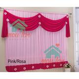 Cortina Margarida Quarto Infantil 2,00x1,70 Rosa E Pink #48