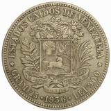 Agradable Moneda 5 Bolívares, Fuerte De 1936 - Fecha Normal