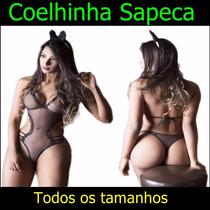 Lingerie Body Sexy Sensual Coelha Sapeca Coelhinha Playboy