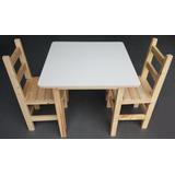 Mesa Infantil Quadrada De Madeira Com 2 Cadeiras Super Resis