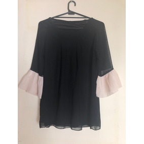 Camisa Blusa Mangas Volados Vestir Gasa