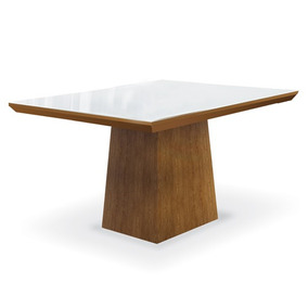 Mesa De Jantar Para 4 Lugares, Imbuia Mel, Vidro Branco, Ani