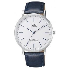Reloj Q&q Qz02j301y Piel Azul Genuina Cristal Mineral - Cfmx