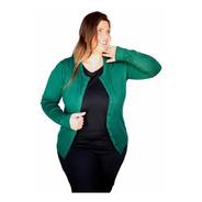 Cardigan Plus Size Feminino Trico Suéter Aberto De Botões
