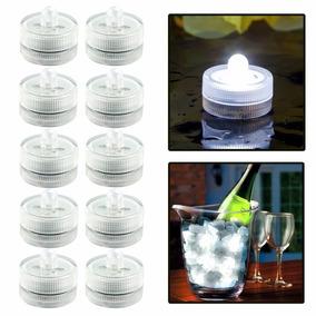 12 Velas Led Sumergible Luz Blanca Arreglos Decoración Boda