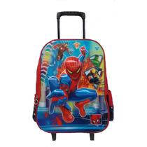 Mochila Escolar Infantil Rodinhas Personagem Homem Aranha 3d