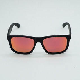 Oculos Masculino Quadrado Justin Dourado Vermelho Espelhado