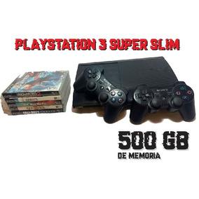 Playstation 3 Ps3 Super Slim + 5 Jogos + 2 Controles
