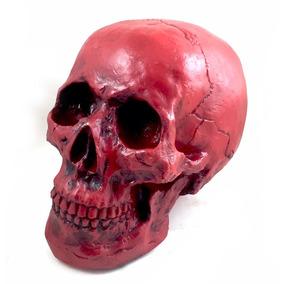 Crânio Caveira Tamanho Real Resina Colorido Vermelho
