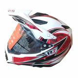 Casco Doble Proposito R7 Blanco Rojo Oferta Rider One