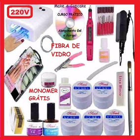 Kit Unhas De Gel Porcelana Acrigel Fibra Dvd E Apostila 220v