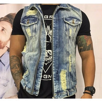 Colete Jeans Masculino Degrant Top Rasgado P/ Entrega Lindo