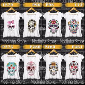 4 Camisetas Estampas Caveiras Á Sua Escolha Frete Grátis