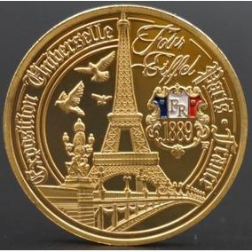 Moeda França Comemorativa 1889 Banhada Ouro Rep