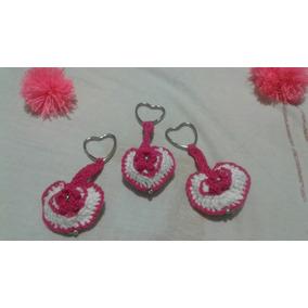 10 Llaveros De Corazón Hecho A Mano Crochet. Recuerdos