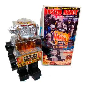 Robot Piston Antiguo Pila Japon 1970 Nuevo Lloretoys