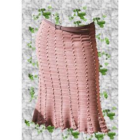 Falda - Pollera Tejida Crochet Con Forro