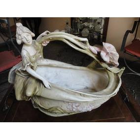 Historical*- Jardinera Art Noveau Porcelana Faiance 48 Cm.