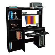 Escritorio Mesa Pc Reproex R11813 Alzada Y Biblioteca Negro