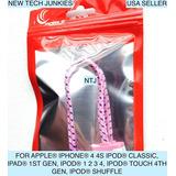 Ntj 20cm 8 Flat Braided Nylon Usb Data Sync Charging -rosa