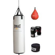 Costal De Boxeo Everlast 80lbs.pera,guantes Y Cinto D Muñeca
