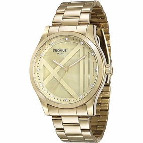 Relógio Feminino Dourado Original De Marca