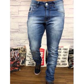 Calça Jeans Masculina Sarja Slim C/ Lycra 38 A 48 Veste Bem