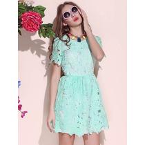 *fashionstore* Vestido Deluxe Corto Encaje Color Menta R40