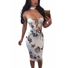 Vestido Sexy Strapless Vintage Blanco Agujetas Escote 61573