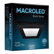 Macroled Panel Plafón Cuadrado Led 6w Frío Black Serie Npc06