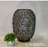 Vaso Decorativo De Ferro E Vidro Arabesco Decoração