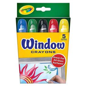 Crayola - Giz De Cera Lavável Para Vidro Com 5 Cores