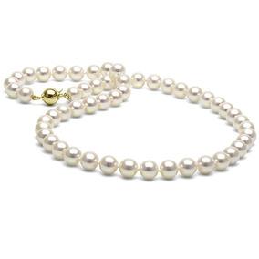 Collar De Perlas Blancas Cultivadas En Chapa De Oro De 14k