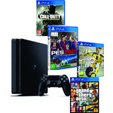 Playstation 4 500gb Ps4 Slim Bivolt + 1jogo Frete Grátis