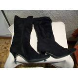 Botas De Gamuza Negras Con Suela De Goma Febo - Talle 36