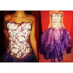 Vestido De 15 Años - Violeta Y Blanco - Talle S.