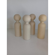 Muñeco De Madera Torneada Gigante Tipo Peg Doll, Puppes.