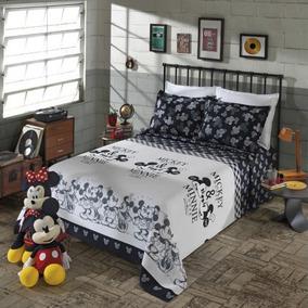 Kit Colcha De Casal Piquet Mickey E Minnie 3 Peças - Disney