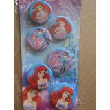 Set 6 Chapas Importadas Para Niñas De La Sirenita Ariel