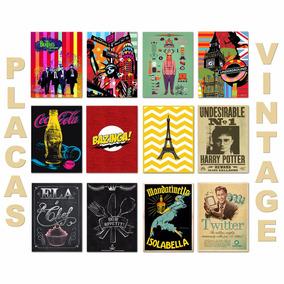 Placas Decorativas Em Mdf Retrô Vintage Personalizado 20x30