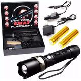 Lanterna Led Tática Police Recarregável Cree Q5 Bateria Gold