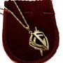 Corrente E Pingente Simbolo Escudo Da Fé Folheado A Ouro 18k