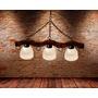 Iluminacio Rustica Colgante De Madera Envejecida De 3 Luces