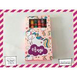 Souvenir Cumple Caja A1 + Lapices Crayones Unicornio Agnes