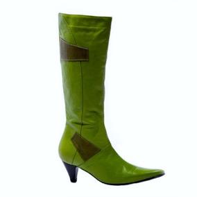 Botas Bottier Mujer Cuero, Modelo Caña, Larga Napa Verde