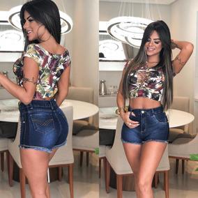 Bermuda Jeans Shorts Feminino Com Lycra Levanta Bumbum!