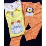 Body Bebê Infantil Recém Nascido Macacão E Calça Safári