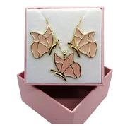 Conjunto Borboletas Rosa Banhado A Ouro 18 K Pinkcat
