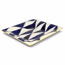 Prato Decorativo Em Cerâmica Quadrado Triângulos